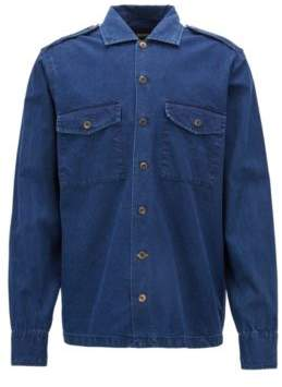 BOSS Hugo Oversized-fit shirt in a bleach-washed cotton XL Dark Blue