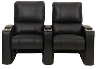 Latitude Run Bonded Leather Manual Rocker Recline Home Theater Row Seating (Row of 2) Latitude Run