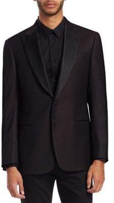 Emporio Armani Men's Tonal Wool Dinner Jacket - Merlot - Size 50 (50) R