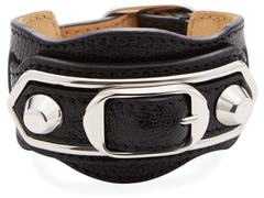 Balenciaga  Double Studded & Double Buckle Leather Bracelet
