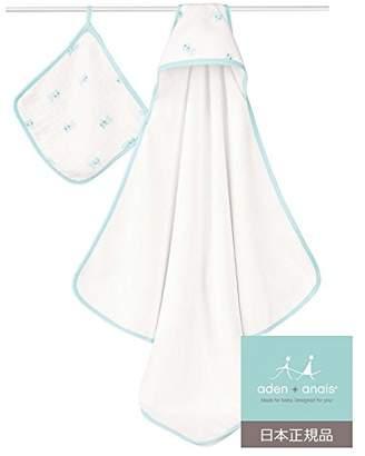 Aden Anais (エイデン アネイ) - aden + anais (エイデンアンドアネイ) 【日本正規品】 フード付きテリータオル と モスリン ウォッシュクロスセット (スプリッシュ・スプラッシュ) hooded terry towel & muslin washcloth set (splish splash) 3032