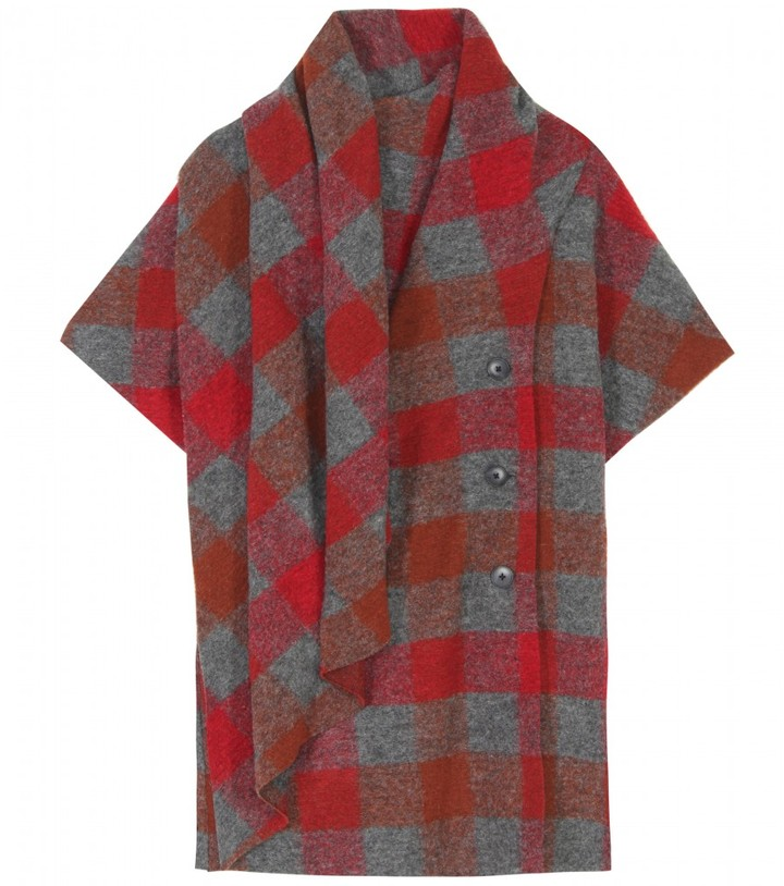 Thakoon Addition SHORT-SLEEVED PLAID JACKET WITH SCARF WRAP