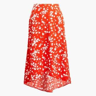 J.Crew Faux-wrap pull-on midi skirt in print