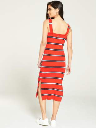 Tommy Jeans Knitted Stripe Midi Dress - Red