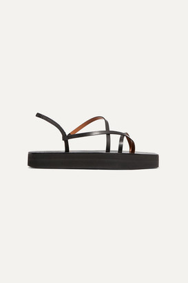 Atelier ATP Maremma Leather Platform Sandals - Black