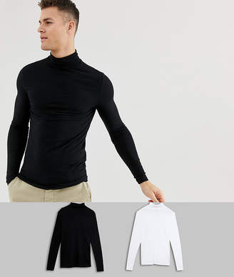 Asos DESIGN muscle fit long sleeve t-shirt with roll neck 2 pack SAVE