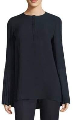 Lafayette 148 New York Shellie Silk-Blend Bell-Sleeve Blouse