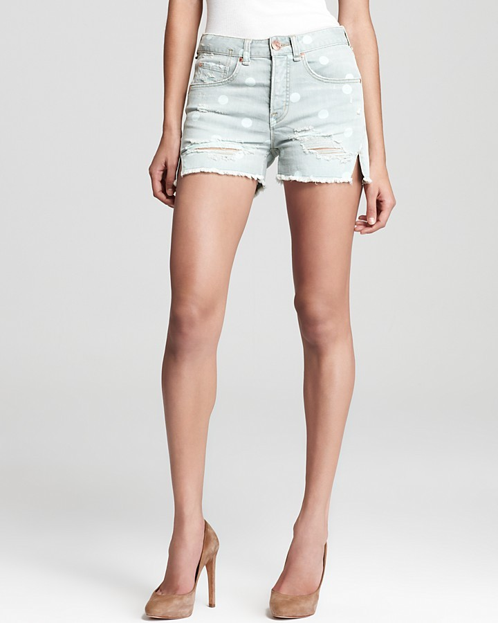 Marc by Marc Jacobs Shorts - Cut Off High Waist Boy in Lily Dot