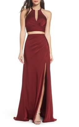 La Femme Strappy Two-Piece Sheath Gown