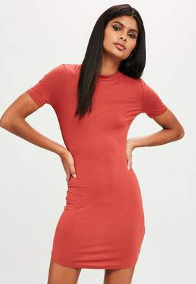Missguided Orange Short Sleeve High Neck Curve Hem Mini Dress