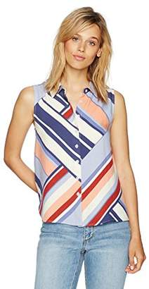 Paris Sunday Women's Sleeveless Collared Button Front Top
