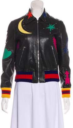 debe70a78 Gucci Intarsia Leather Bomber Jacket