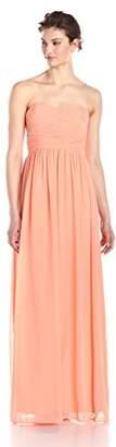 Donna Morgan Women's Stephanie Long Strapless Chiffon Dress,0