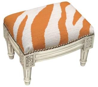 World Menagerie Charleville Zebra Stripe Wool Needlepoint Upholstered Ottoman World Menagerie