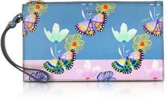 Furla Butterfly Printed Toni Veronica Saffiano Leather Babylon XL Envelope Clutch
