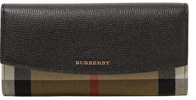 Burberry - Textured-leather And Checked Canvas Wallet - Black