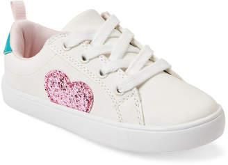 Carter's Toddler Girls) White Emilia Glitter Heart Sneakers
