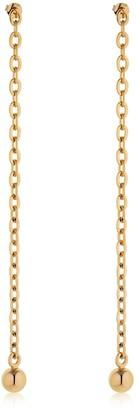 Saskia Diez Barbelle Gold Plated Long Chain Earrings
