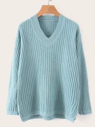Shein V Neck Ribbed High Low Hem Sweater