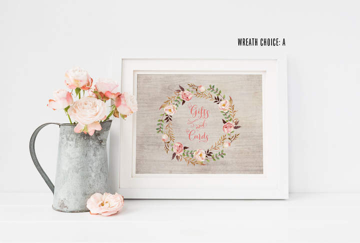 Etsy Bohemian Gifts and Cards Sign - Rustic Floral Wedding Cards Sign