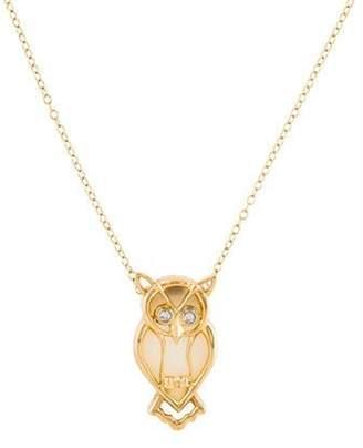 14K Diamond & Chalcedony Owl Pendant Necklace yellow 14K Diamond & Chalcedony Owl Pendant Necklace