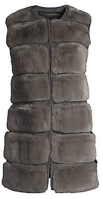 Pologeorgis Women's Horizontal Rabbit Fur Vest