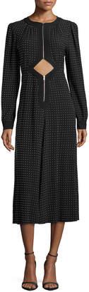 Michael Kors Studded Cutout Midi Dress, Black