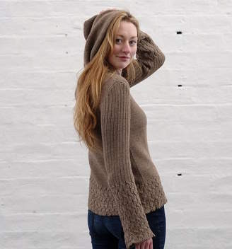 Holmes Samantha Alpaca Cable Knit Hooded Sweater