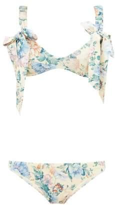 Zimmermann Verity Floral Print Bow Detail Bikini - Womens - Cream