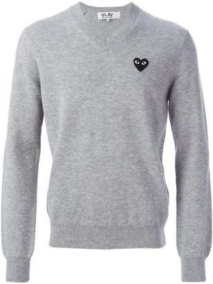 Comme des Garcons logo patch v-neck sweater