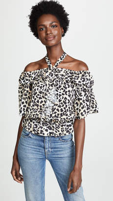 Temperley London Wild Cat Ruffle Blouse