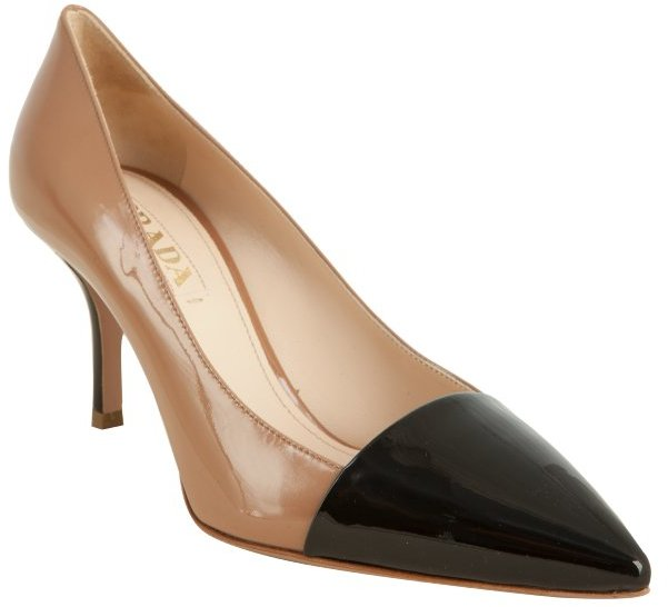 Prada nude patent leather colorblock pumps