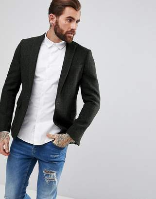 Asos Slim Blazer In Harris Tweed 100% Wool Herringbone