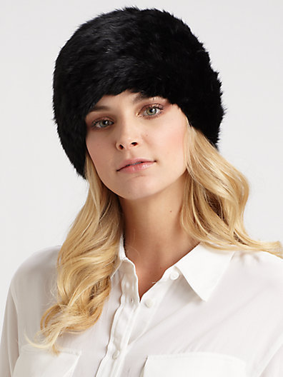 Saks Fifth Avenue Collection Rabbit Fur Toque Hat
