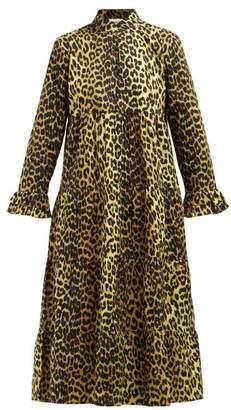 Ganni Bijou Leopard Print Cotton Midi Dress - Womens - Leopard