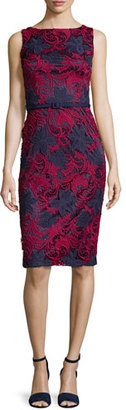 David Meister Sleeveless Floral Lace Sheath Dress, Rose/Navy $395 thestylecure.com