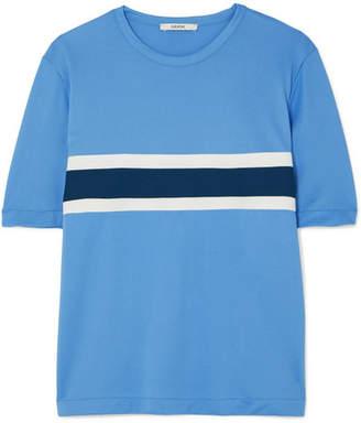 Ganni Dubois Striped Stretch-piqué T-shirt - Blue