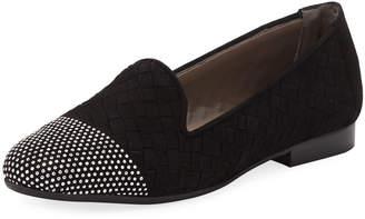 Sesto Meucci Nicia Studded Woven Leather Loafers, Black