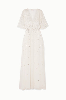 Temperley London Topiary Sequined Chiffon Gown - Ivory