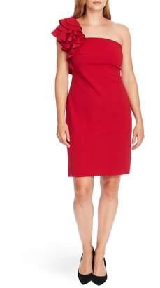 Vince Camuto Ruffle Detail One-Shoulder Crepe Sheath Dress