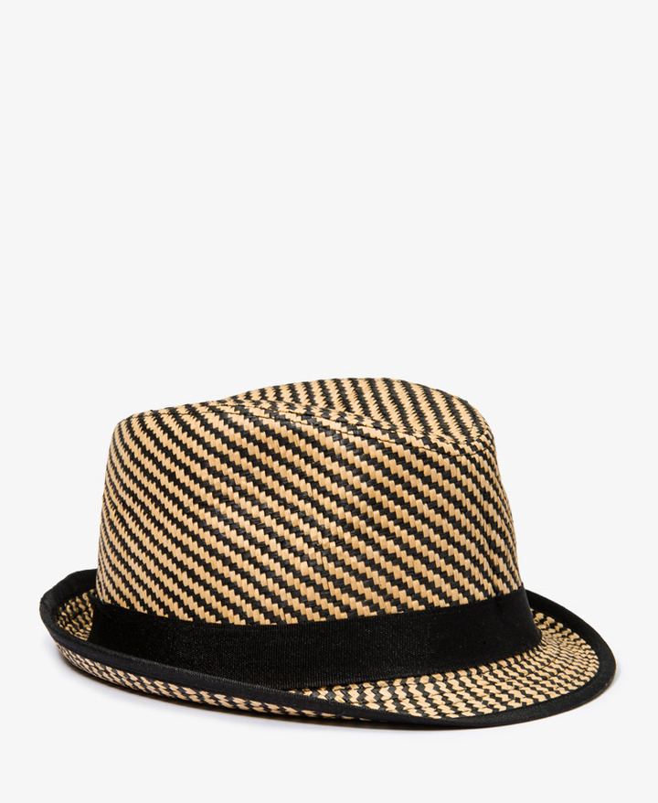 Forever 21 Contrast Woven Straw Fedora