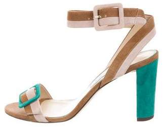 Jimmy Choo Suede Buckle-Accented Sandals