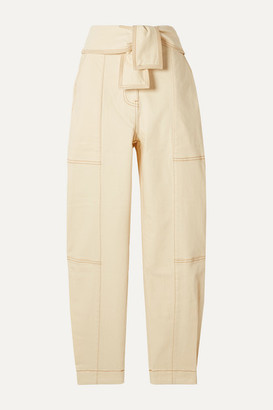 Ulla Johnson Storm Belted Paneled High-rise Tapered Jeans - Ecru