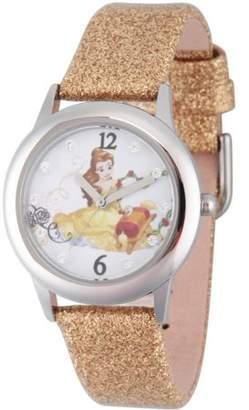 Disney Beauty and Beast Belle Girls' Stainless Steel Glitz Watch, Gold Glitter Strap