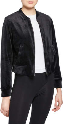 Marc Ny Performance Luxe Stretch Velvet Bomber Jacket