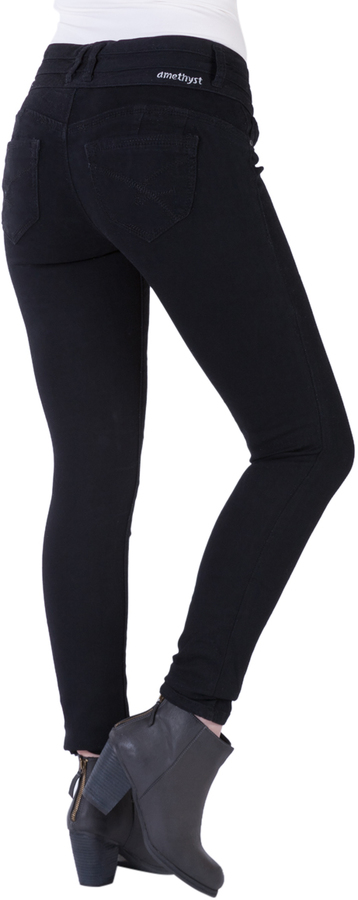 Black Triple-Button High-Waist Jeggings