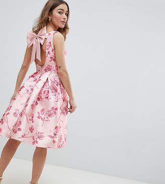 Chi Chi London Petite Midi Dress With Bow Back In Pink Floral Print