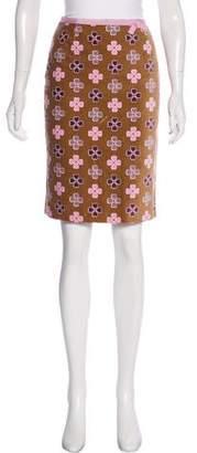 Paule Ka Velvet Printed Knee-Length Skirt