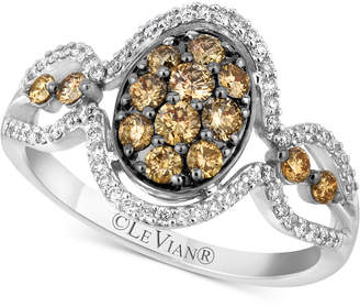 LeVian Le Vian Chocolatier Diamond Oval Cluster Ring (3/4 ct. t.w.) in 14k White Gold