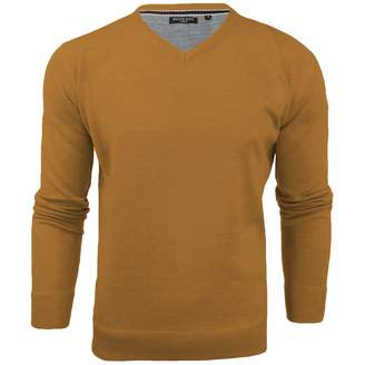 Brave Soul Mens Quazar V Neck Knitted Long Sleeve Jumper Sweater - BlueMarl